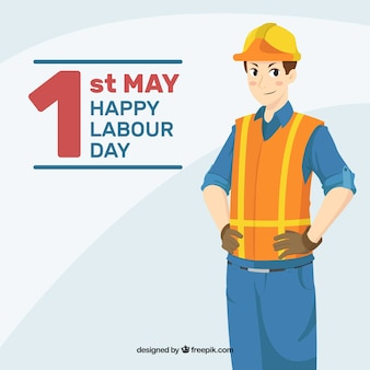 Labour day background with worker in hand drawn style