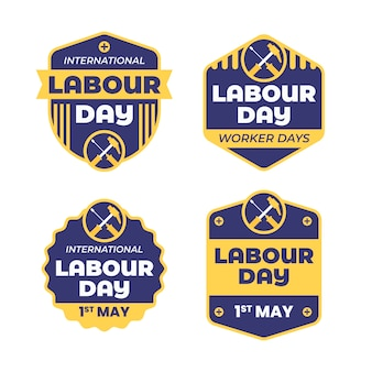 Labour day badge collection in flat design