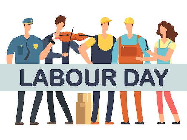 Labour day banner with cartoon professionals isolated on white