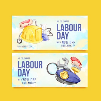 Labour day banners concept