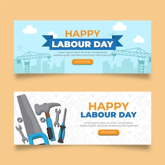 Labour day banners flat design