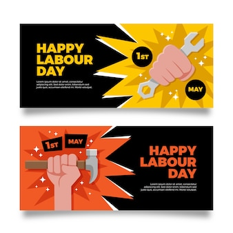 Labour day banners in flat design