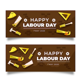 Labour day banners hand drawn