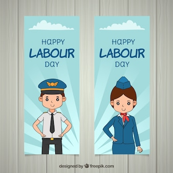 Labour day banners with workers