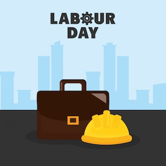 Labour day. builder helmet with portfolio