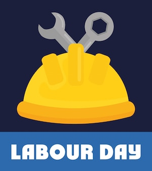 Labour day. builder helmet with wrench keys
