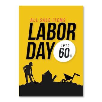 創造的なデザインと黄色の背景を持つ労働日カード