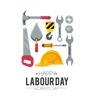 Labour day celebration with construction tools