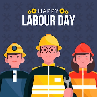 Labour day greeting with illustration