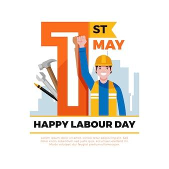 フラットなデザインの労働者の日