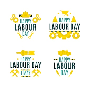 Labour day label collection design