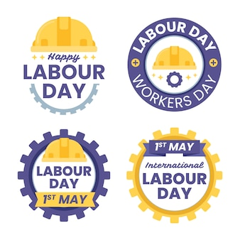 Labour day label collection in flat design