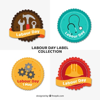 Labour day labels collection in flat style