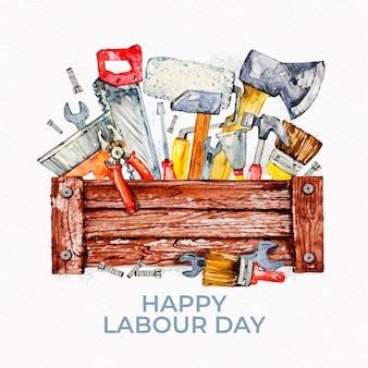 挨拶とツールのある労働者の日