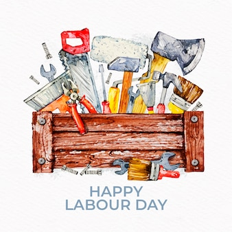 Labour day with greeting and tools