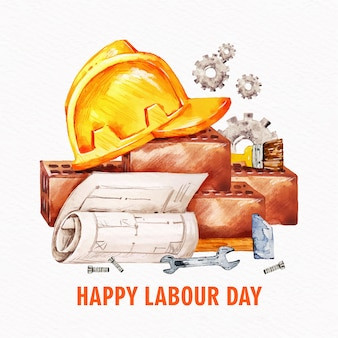 Labour day with hard hat