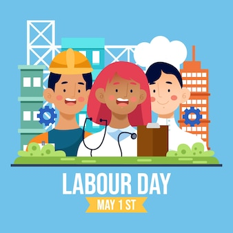 Labour day with people illustrated