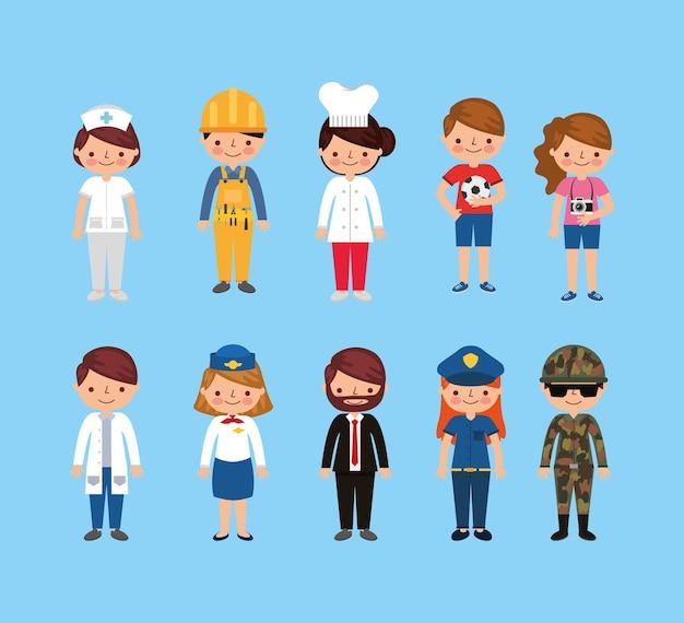 День труда с улыбающимися рабочими мультфильмами на синем