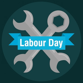 Labour day. wrench keys tools crossed