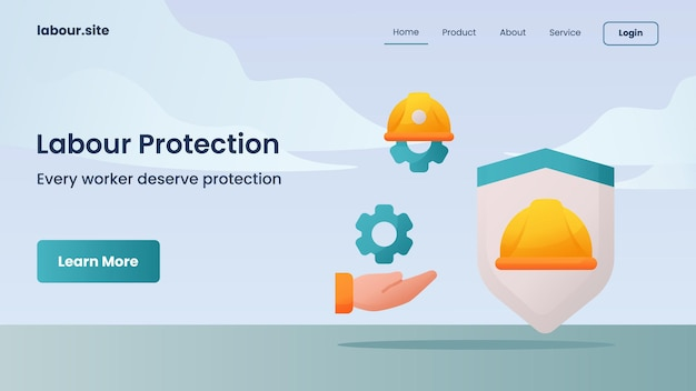 Labour protection campaign for web website home homepage landing page template