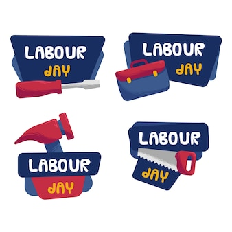 Labour work tools hand drawn badges
