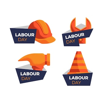 Labour work tools hand drawn labels