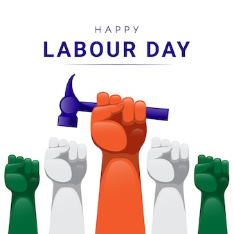 Labours hand rising with holding hammer on labour day