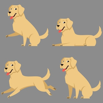 Labrador in different poses. beautiful dog in cartoon style.