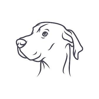 ラブラドールレトリーバー犬 - ベクトルロゴ/アイコンイラストマスコット
