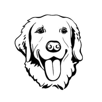 Labrador retriever silhouette line art