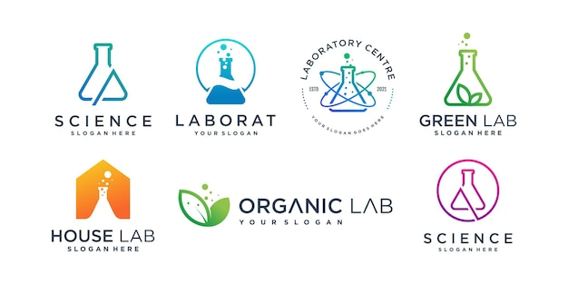 Labs logo collection with creative element style premium vector