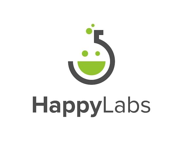 미소 행복한 얼굴을 가진 실험실 단순하고 매끄러운 창조적 인 기하학적 현대 로고 디자인