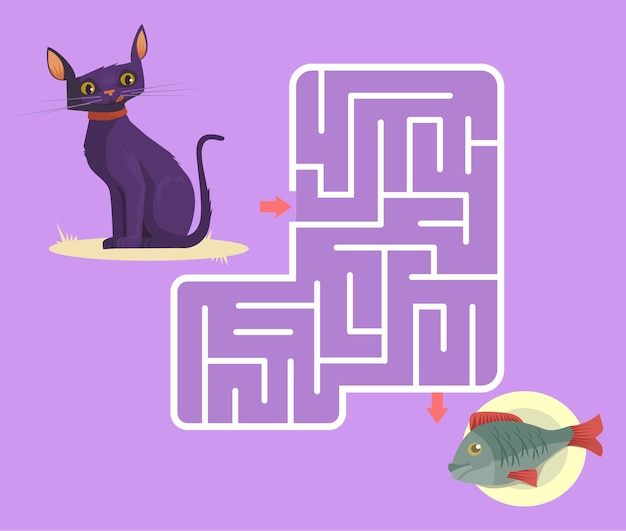 Labyrinth game for children with cat cartoon illustration