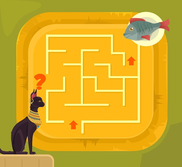 Labyrinth game for children with egypt cat cartoon illustration