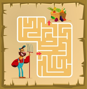 Labyrinth game for children with farmer cartoon illustration
