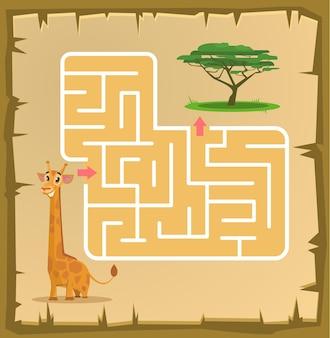 Labyrinth game for children with giraffe cartoon illustration