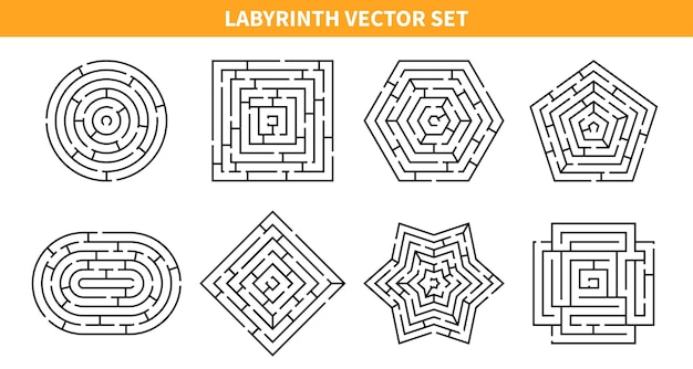 Labyrinth game set with eight isolated maze schemes of various shapes