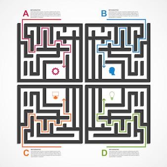 Лабиринт инфографики концепция.