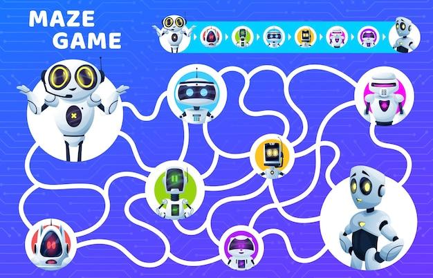 미로 미로 게임, 아이들은 만화 벡터 로봇으로 수수께끼를 냅니다. 올바른 교육 퍼즐, 주의력 테스트 또는 퀴즈, 지도, 로봇, 인공 지능 드로이드 및 봇이 포함된 보드 게임 템플릿 찾기