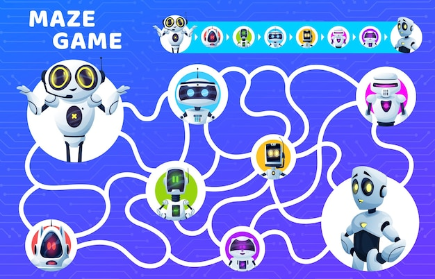 Labyrinth maze game, kids riddle with cartoon vector robots. find right way education puzzle, attention test or quiz, board game template with map, robots, artificial intelligence droids and bots