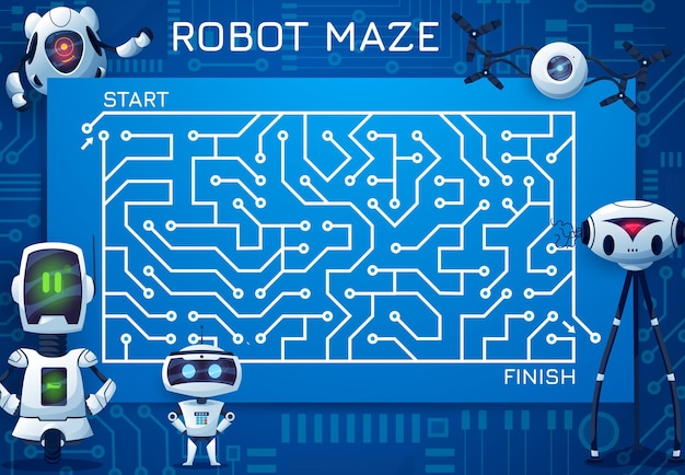 Labyrinth maze game with motherboard and robots