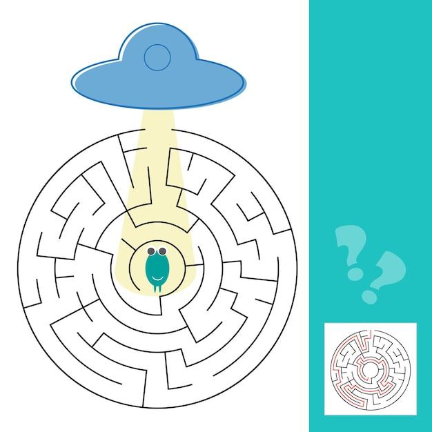 ソリューションと迷路迷路ゲーム。エイリアンがufoへの道を見つけるのを手伝ってください-ベクターイラスト