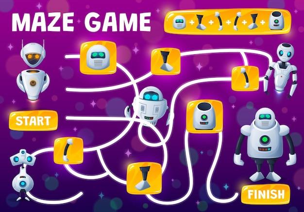 미로 미로 어린이 게임, 예비 부품에서 로봇 조립, 벡터 탁상 수수께끼. 안드로이드 로봇, 로봇 봇 또는 사이버 챗봇, 만화 사이보그 또는 우주 외계인의 예비 부품을 찾아 일치시킵니다.