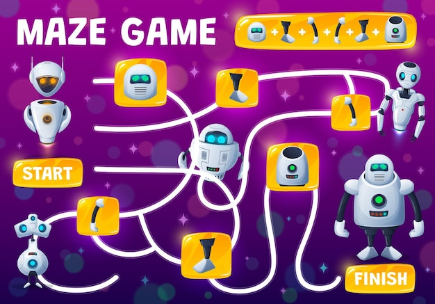 Labyrinth maze kids game, assemble robot from spare parts, vector tabletop riddle. find and match spare parts of android robot, robotic bot or cyber chatbots and cartoon cyborgs or space aliens