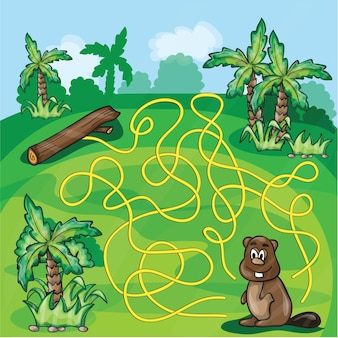 Labyrinth maze for kids - help the beaver find a way - game vector illustration