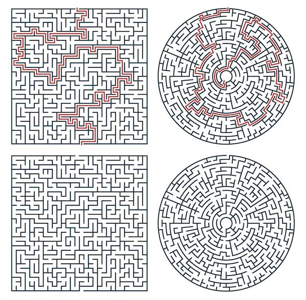迷路の迷路、論理ゲームまたはクイズ。なぞなぞ、子供の教育活動の正方形と円の形の細い線のベクトルテンプレートを検索する方法、パス、または出口を見つけます。ジグソーパズル、タスクソリューションの難しい迷路