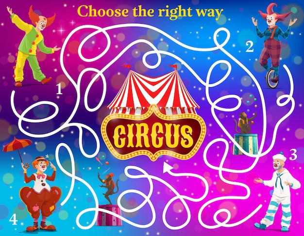 Labyrinth maze vector kids game with circus clowns. find right way to circus shapito big top tent education game, logic puzzle, riddle or quize with cartoon clown characters of shapito carnival show