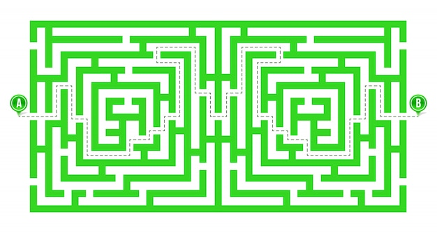 Labyrinth, maze with entry and exit.