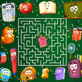 Labyrinth maze with school characters, kids riddle