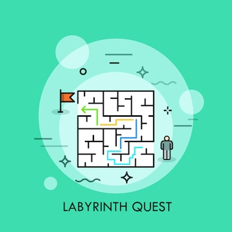 Labyrinth quest thin line illustration